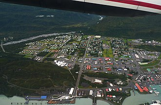 Valdez, Alaska - Aerial view showing the townsite, the harbor, the lower Mineral Creek valley and Blueberry Hill