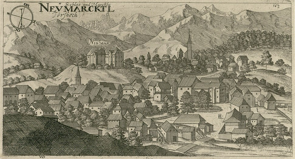 Valvasor - Tržič z gradom Neuhaus