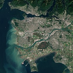 Satellite image of Metro Vancouver