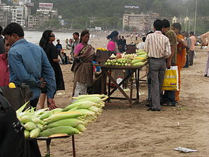 Roasted corn for sale on the beach.