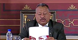 2017 Constituent National Assembly - Fidel Vasquez reading from a folder with Chávez eyes during a Constituent Assembly session.