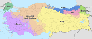 Map of common folk dances by province in Turkey.
