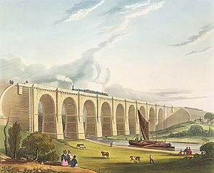 Sankey Viaduct - 1831 view of the Viaduct