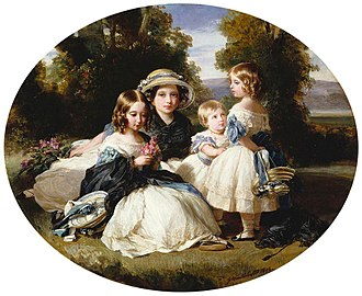 Victoria, Princess Royal - Victoria with her sisters Alice, Louise and Helena. Portrait by Franz Xaver Winterhalter, 1849.