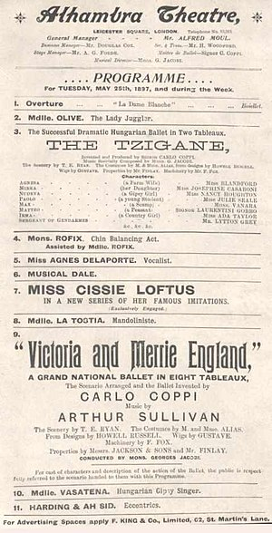 Victoria and Merrie England - Programme from the ballet, 1897