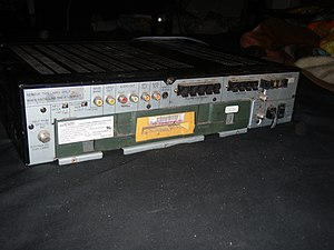 Videocipher - Back of a 1992 Toshiba satellite receiver with an installed VideoCipher II module