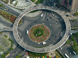 Roundabout - This roundabout in Shanghai, China, has a pedestrian bridge in the form of another, raised roundabout.