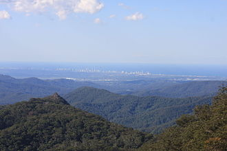 Gold Coast hinterland - View towards the coast from Springbrook. The Surfers Paradise skyline can be seen in the distance.