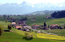 Village of Englisberg, south-eastern view towards the Gantrisch.jpg