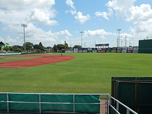 Vincent–Beck Stadium - Image: Vincent Beck Stadium infield and outfield from the right field seats