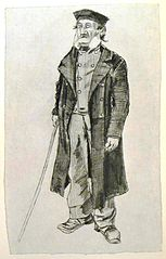 Workhouse-inmate with skull-cap and stick