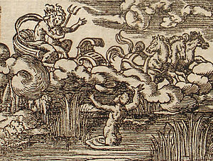 Cyane - Cyane dissolves in tears, an engraving (1581) by Virgil Solis to illustrate Ovid's tale