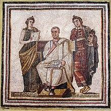 Virgilio con l'Eneide tra Clio e Melpomene (Museo nazionale del Bardo, Tunisi)