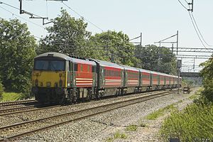 History of rail transport in Great Britain - Class 87 electric locomotive and Mark 3 coaches franchised by Virgin Trains.