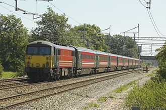 History of rail transport in Great Britain 1948–1994 - Class 87 electric locomotive and Mark 3 coaches franchised by Virgin Trains.