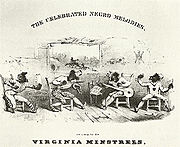 The blackface Virginia Minstrels in 1843, featuring tambourine, fiddle, banjo and bones.