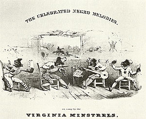 Mass media - Early minstrel shows lampooned the assumed stupidity of black people. Detail from cover of The Celebrated Negro Melodies, as Sung by the Virginia Minstrels, 1843.