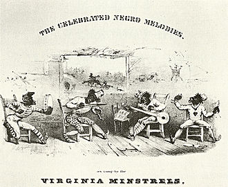 Minstrel show - Detail from cover of The Celebrated Negro Melodies, as Sung by the Virginia Minstrels, 1843