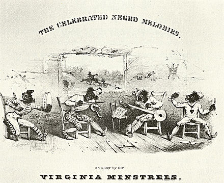 Early minstrel shows lampooned the assumed stupidity of black people. Detail from cover of The Celebrated Negro Melodies, as Sung by the Virginia Minstrels, 1843. Virginia Minstrels, 1843.jpg