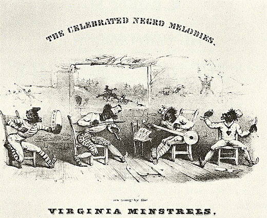 Detail van de voorpagina van de bladmuziek The Celebrated Negro Melodies, as Sung by the Virginia Minstrels, 1843