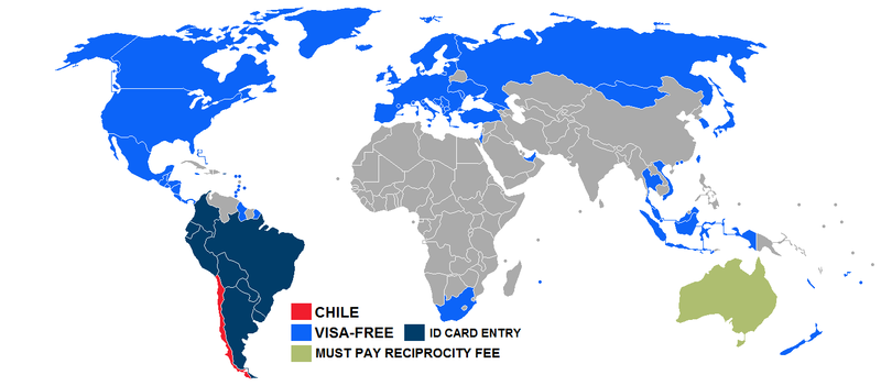 Visa policy of Chile - Wikipedia on the the world map, chile's map, chile latin america map, chile on geography map, chile lakes map, chile in map, chile capital on map, ecuador south america on map, chile tourist attractions, chile flag, chile physical map, chile economic map, chile on global map, atacama desert temperature map, ports of chile map, chile on us map, middle chile map, chile world atlas, chile and capital map, chile culture,
