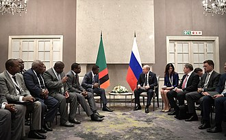 President Edgar Lungu with Russian President Vladimir Putin, 26 July 2018 Vladimir Putin and Edgar Lungu, 26 july 2018 (2).jpg