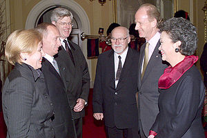 Adrienne Clarkson - Clarkson and John Ralston Saul (at right) greet the President of Russia Vladimir Putin and his wife, Lyudmila Putina, at Rideau Hall, December 18, 2000