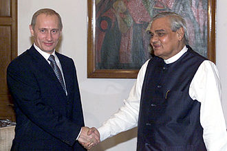 India–Russia relations - Former Prime Minister Atal Bihari Vajpayee with Russia's president Vladimir Putin in October 2000.