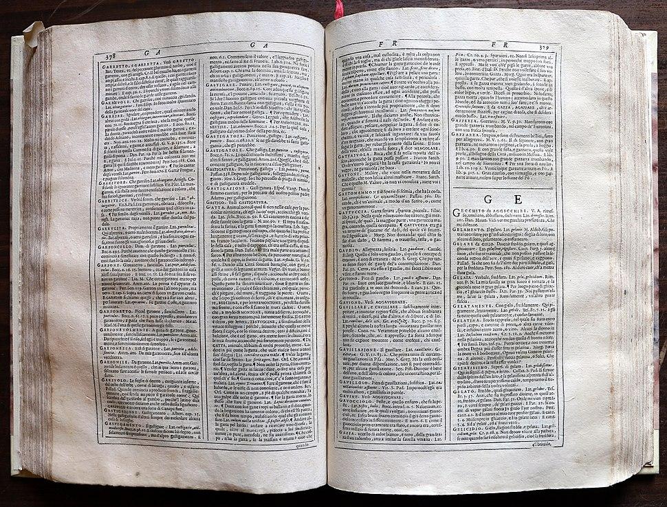 Vocabolario degli accademici della crusca, prima edizione per giovanni alberti, venezia 1612, 02