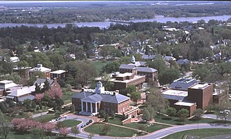 Washington College - Aerial view of the Washington College campus in Chestertown, Maryland