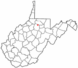 Location of Shinnston, West Virginia