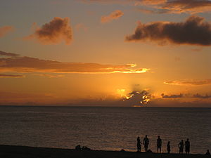 Waimea Bay, Hawaii - Sunset over Waimea Bay, Hawaii on the North Shore of O'ahu