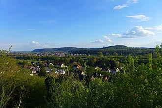 Dillingen, Saarland - View of the Limberg-massif from Saarfels