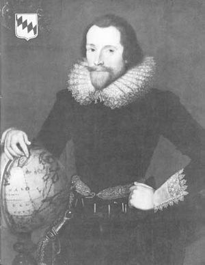 Emery Molyneux - A portrait of Sir Walter Raleigh with a globe, attributed to Federico Zuccari (1542/1543–1609)