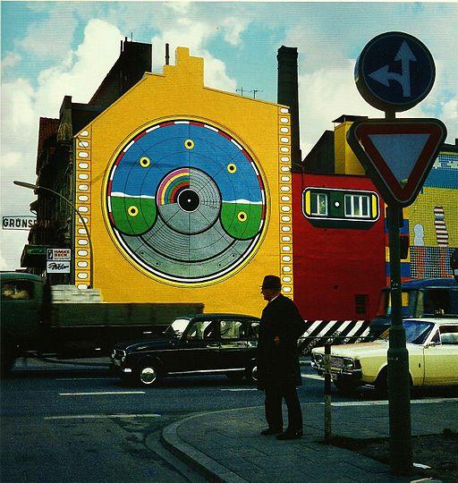 Wandmalerei am Grünspan, Hamburg 1968 von Werner Nöfer