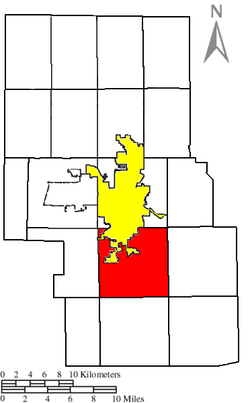 Location of Washington Township (red) in Richland County, next to the city of Mansfield (yellow).