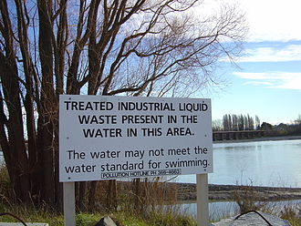 Waimakariri River - A water pollution sign on the lower reaches of the river