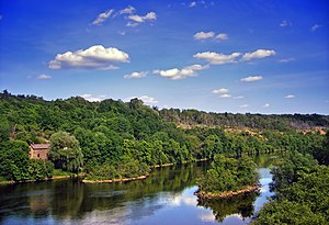 Lehigh River - The Lehigh River near Slatington at the Lehigh County–Northampton County line