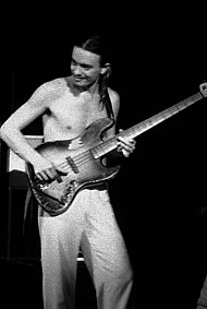 Pastorius playing bass shirtless in his early years