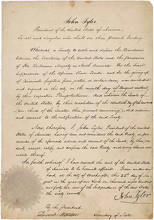 Webster–Ashburton Treaty - Webster–Ashburton Treaty ratification