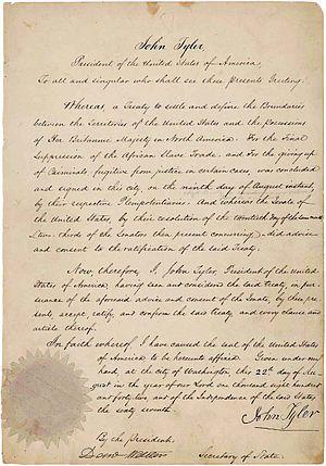Webster–Ashburton Treaty - Webster–Ashburton Treaty ratification