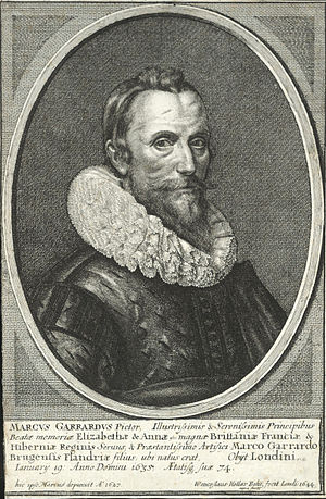 Marcus Gheeraerts the Younger - Engraving by Wenceslas Hollar, 1644, of a self-portrait of Marcus Gheeraerts the Younger, 1627 (now lost).
