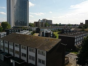 Housing estate - A housing estate in West Kensington, with many rows of similar terraced flats.