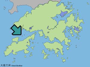 The Brothers (islands), Hong Kong - Map showing the location of Tai Mo To in Hong Kong. Siu Mo To is the island on the east.