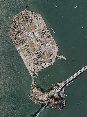 Aerial photo of Treasure Island (top) and Yerb...