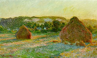 Haystacks (Monet series) - Image: Wheatstacks (End of Summer), 1890 91 (190 Kb); Oil on canvas, 60 x 100 cm (23 5 8 x 39 3 8 in), The Art Institute of Chicago