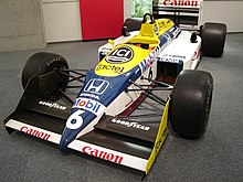 Photo de la monoplace Williams FW11B dans le Honda Collection Hall.