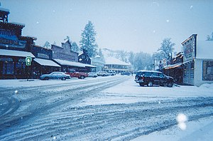 Winthrop, Washington - The town of Winthrop on a snowy day