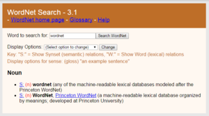 A snapshot of WordNet's definition of itself.