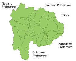 Map of Yamanashi Prefecture.